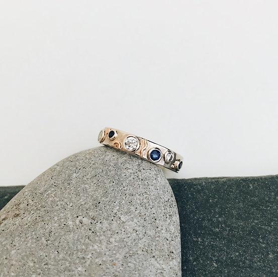 Diamond and Sapphire Aspen Ring