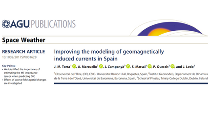 Latest Publication: Improving the modeling of geomagnetically induced currents in Spain