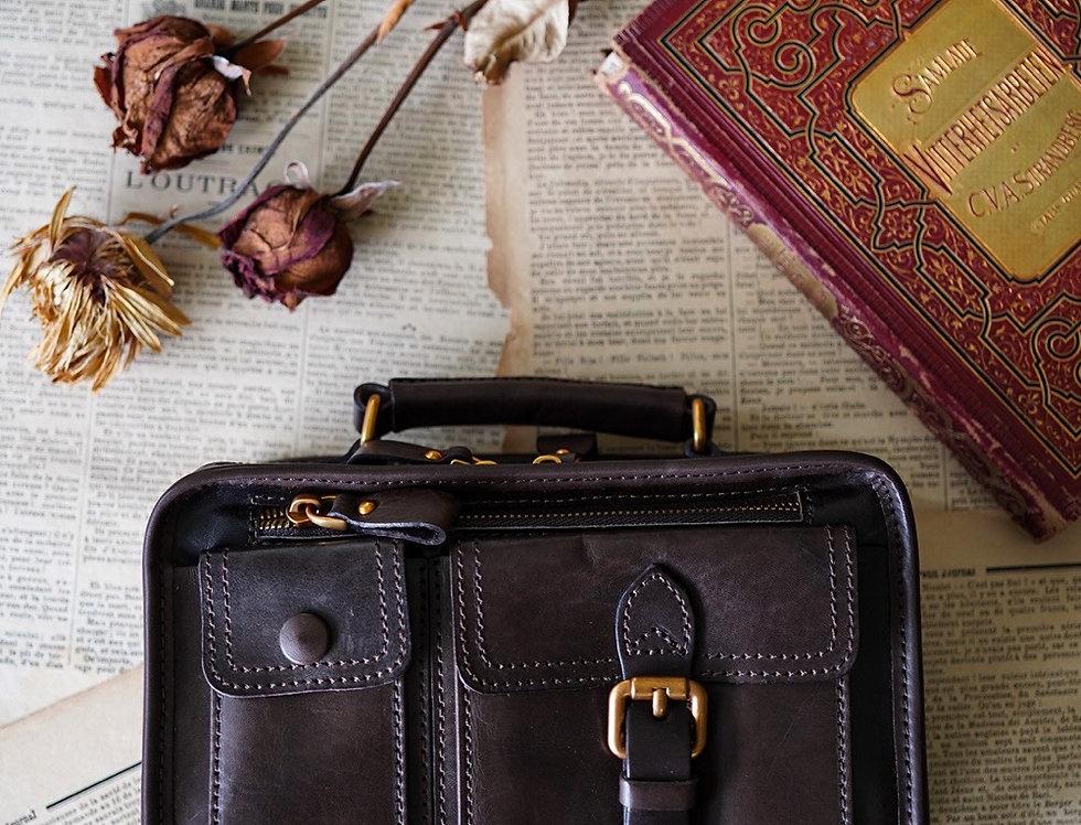 HEATHER LEATHER BAG - CIGAR BROWN