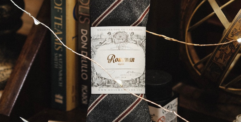 ROSEMAN NECKTIE - GREY RED STRIPES