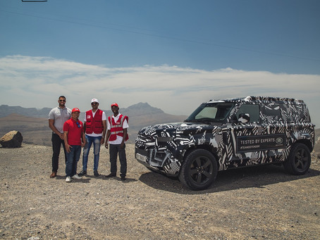RED CROSS EXPERTS PUSH NEW LAND ROVER DEFENDER PROTOTYPE TO THE LIMIT IN DESERT TESTING TO CELEBRATE