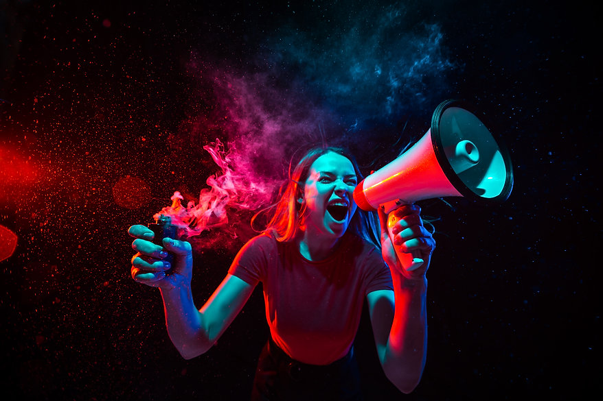 shouting-with-megaphone-young-woman-with