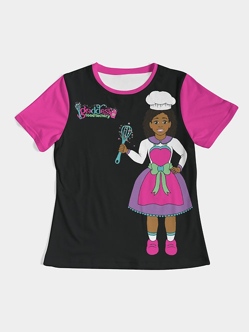 Goddess Food Factory Color Block Black & Pink Shirt