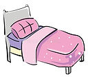 gray-bed-pink-pillow-blanket-vector-colo