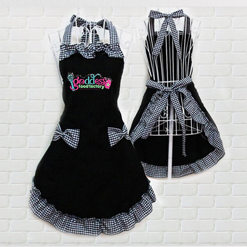 Goddess Food Factory Black Ruffle Apron