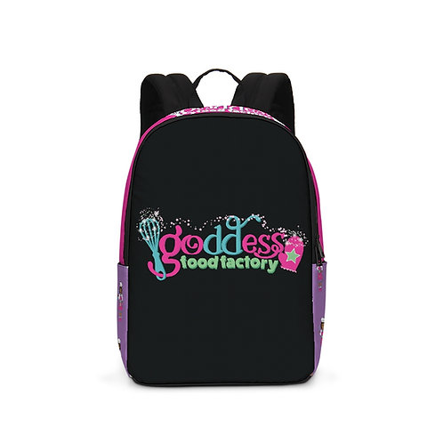 Goddess Food Factory Color Block Backpack Black & Purple