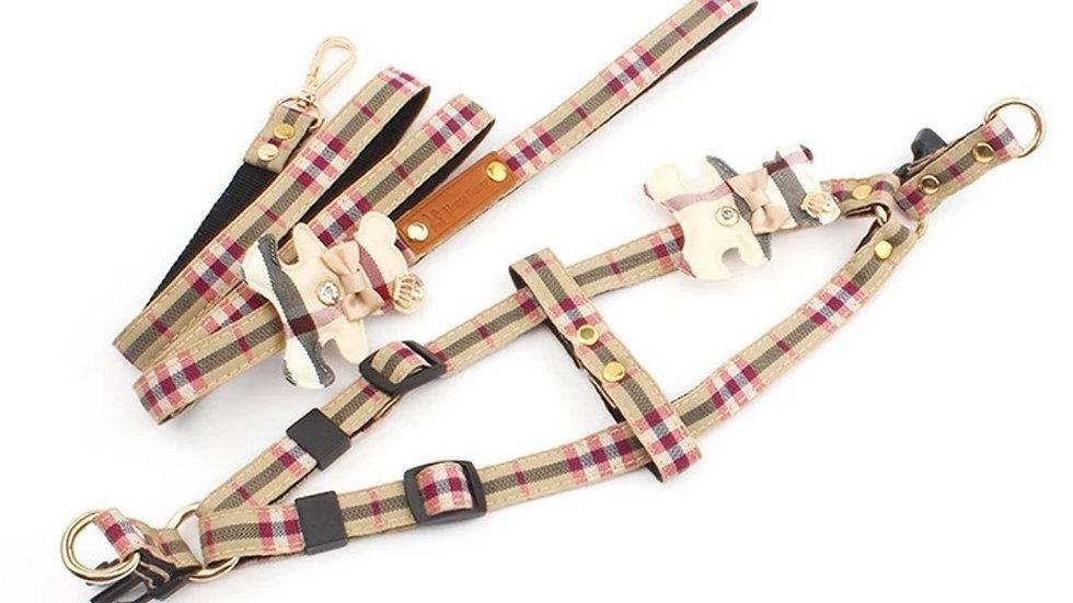 Tan plaid dog harness & leash set, Teddy Bear dog collar and leash