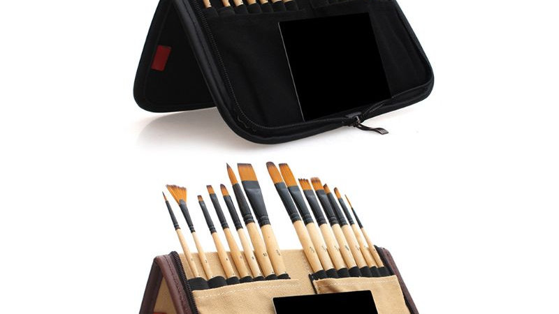14pcs  Acrylic Watercolor Brush With Pencil Case Bag for Professional Artists