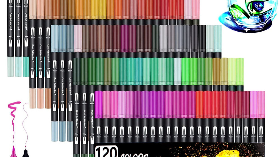 Watercolor Pen Brush Markers Dual Tip Fineliners for Artists/designers