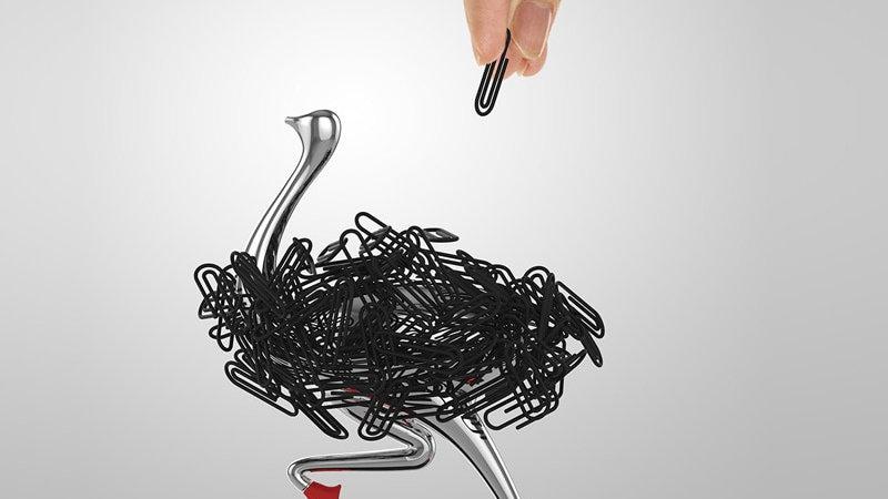 Ostrich Magnetic Desktop Paper Clip Holder for Professionals