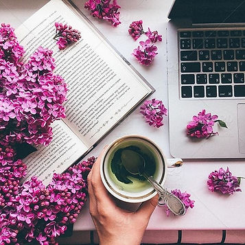 stock-photo-flower-pink-hand-book-cafe-c