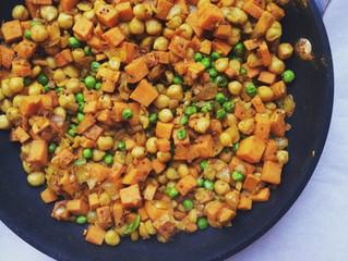 Indian Sweet Potato & Chickpea Toss (gluten-free, dairy-free, vegan, grain-free)