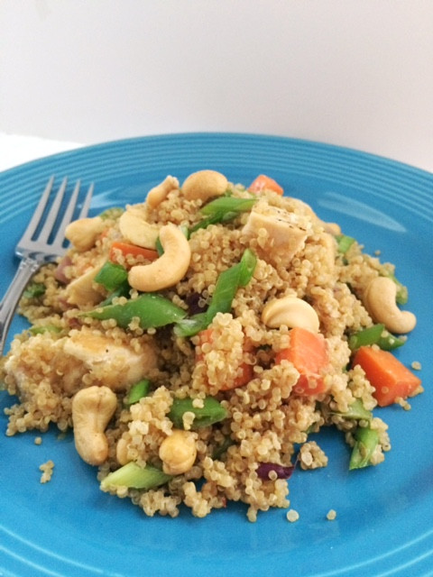 Crunchy Asian Quinoa Salad with Creamy Cashew Dressing