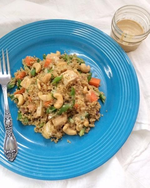 Crunchy Asian Quinoa Salad with Creamy Cashew Dressing