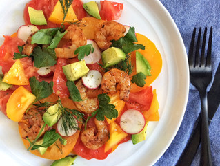 Gorgeous Heirloom Tomato Salad with Grilled Shrimp & Fresh Herbs