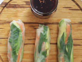 Thai Spring Rolls with Sweet & Spicy Grape Dipping Sauce