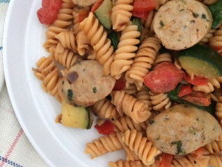 Veggie Loaded Red Lentil Pasta with Chicken Sausage (gluten-free, grain-free, dairy-free)