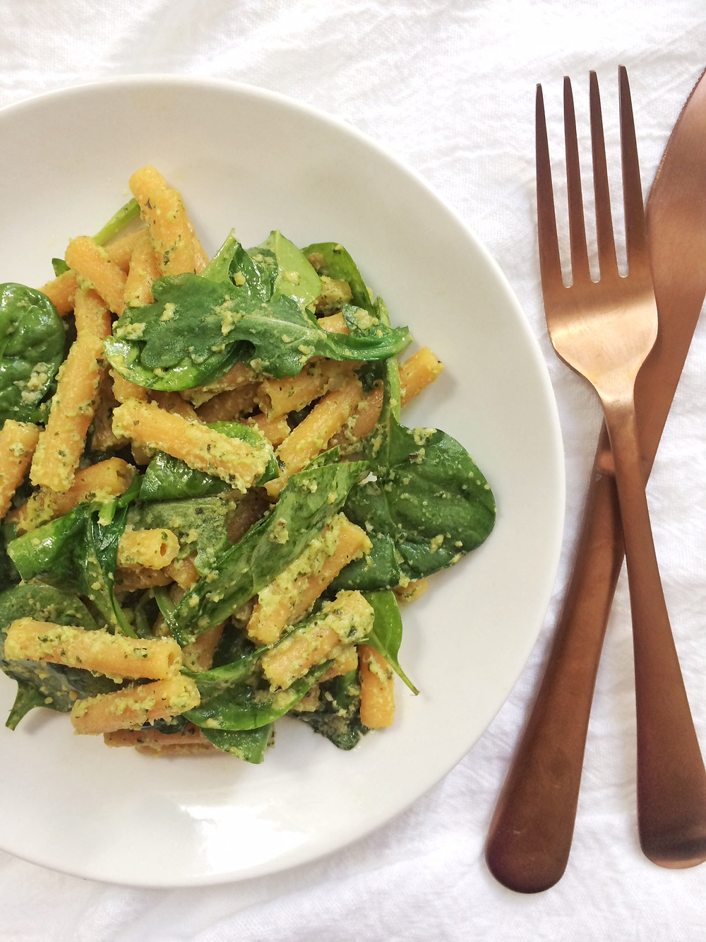 Red Lentil Pasta with Lemony Sunflower Seed Pesto
