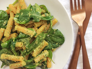 Red Lentil Pasta with Lemony Sunflower Seed Pesto (dairy-free, gluten-free, vegan)