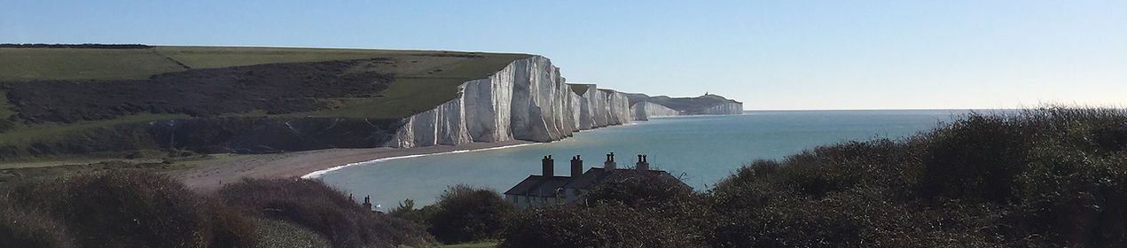 Sussex Coast with house and dog running