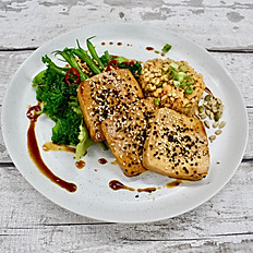 Soy and Sesame Tofu, Mixed Grains, Super Greens with Soy & Tahini Dressing