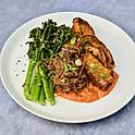 Beef Brisket, Sweet Potato Wedges, Broccoli and Chilli Sauce