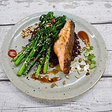 Teriyaki Salmon, Wild & Brown Rice, Char Siu Tenderstem Broccoli & Soy and Honey Dressing