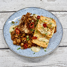 Harissa Tofu, Spiced Chickpeas, Roasted Spiced Cauliflower & Chimichurri