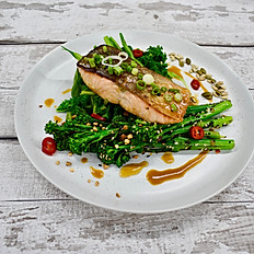 Miso Salmon, Char Siu Tenderstem Broccoli, Super Greens & Soy and Honey Dressing