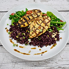 Yoghurt Marinated Chicken Breast, Super Greens with Soy, Wild and Brown Rice & Tamarind and Sesame Dressing