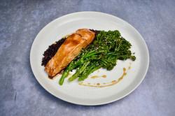 salmon, brocc, rice