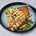 Chicken Breast, Tokyo Prawns, Greek Quinoa, Sweet Potato and Chimichurri