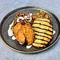 Beef Brisket, Chicken Breast, Sweet Potato, Rainbow Salad and Yoghurt Dressing