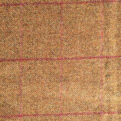 Tartan wool fabric-olive brown with red