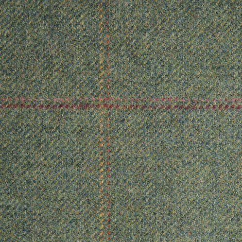 Tartan wool fabric-dark green with red o yellow