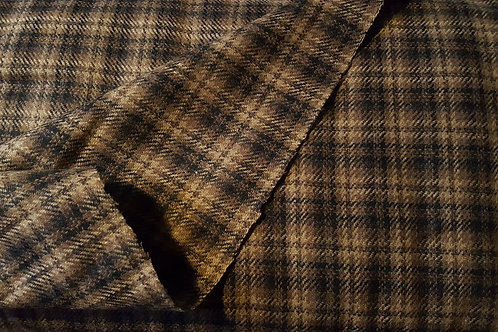 Wool tartan 60% wool-light brown & black