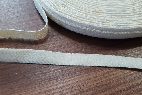 Cotton herringbone tape 11mm- natural white