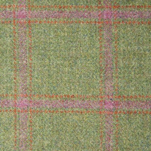 Wool tweed tartan fishbone-green & pink