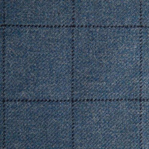 Tartan wool fabric-blue with black