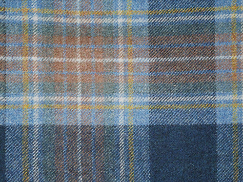 Tartan wool fabric-blue w brown/yellow