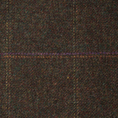 Tartan wool fabric-dark brown