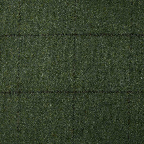 Tartan wool fabric-green with black