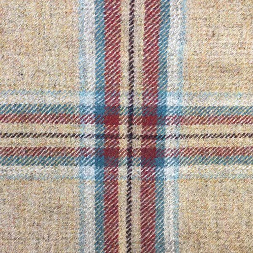 Tartan wool fabric-beige with red 09