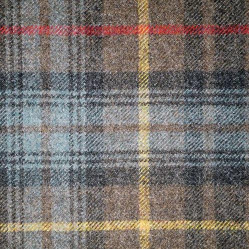 Tartan wool fabric-brown with yellow blue