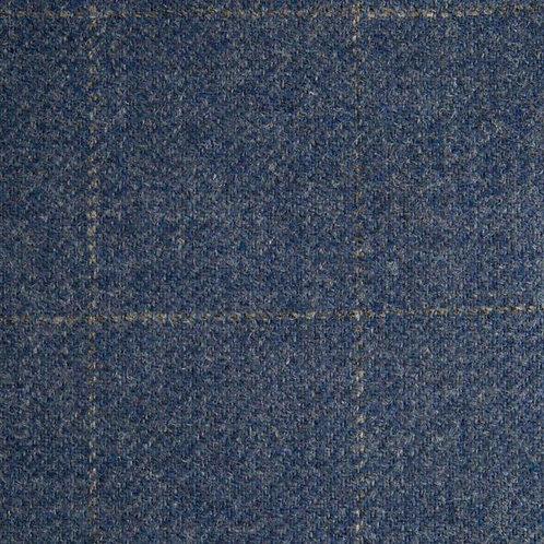 Tartan wool fabric-blue with gray