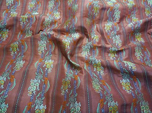 Silk- stripe/flower redish brown