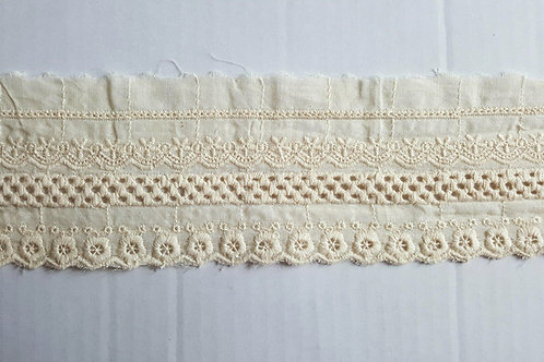 Embroidered cotton insert lace 8cm- beige 2