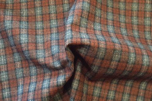 Wool tartan 60% wool-blue with brown/black