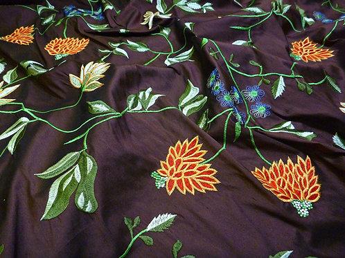 Embroidered silk-flowers purple