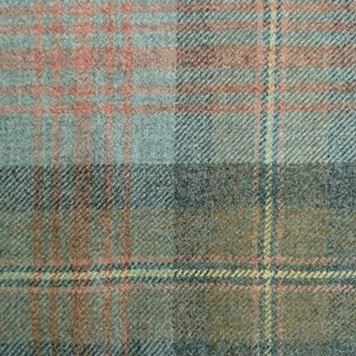 Tartan wool fabric-brown, blue & coral 12